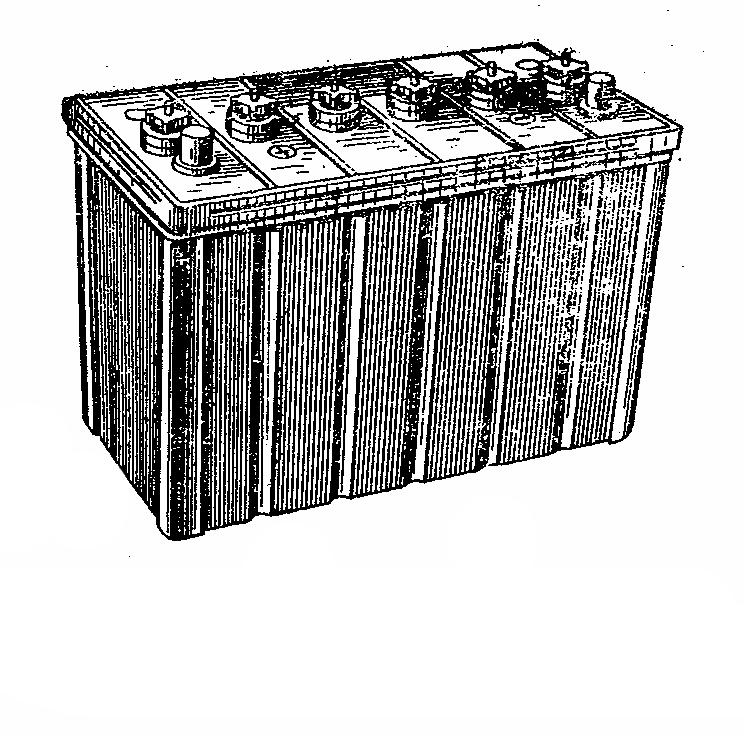 Автомобильная аккумуляторная батарея 6СТ-75 с зыкрытыми перемычками. Общий вид