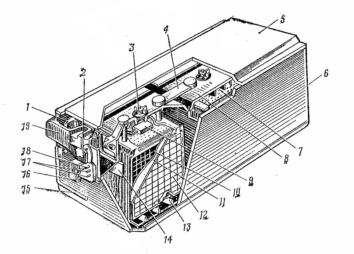 Устройство аккумуляторной батареи 6СТ-190ТРН с внутренним электрообогревом
