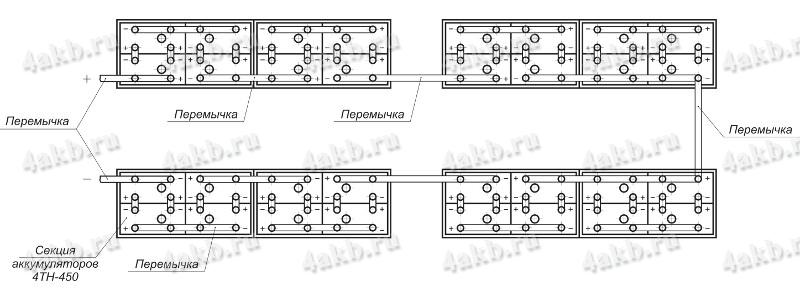 Монтажная схема сборки аккумуляторной батареи на примере батареи 32ТН-450