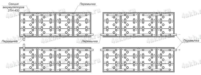 Монтажная схема сборки аккумуляторной батареи на примере батареи 48ТН-450