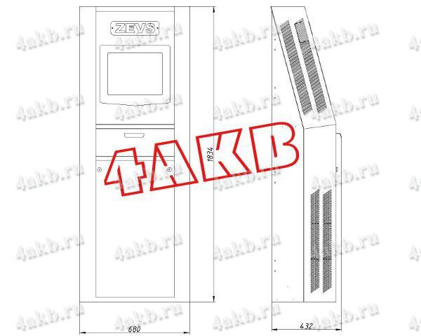 Габаритный чертеж шкафа для управления зарядным комплексом АЗР-300А-200В