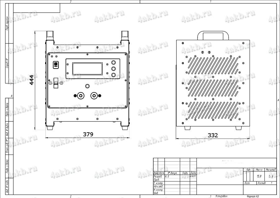 Чертеж зарядно-разрядного выпрямителя ВЗА-Р 1 (маленький корпус - 1)