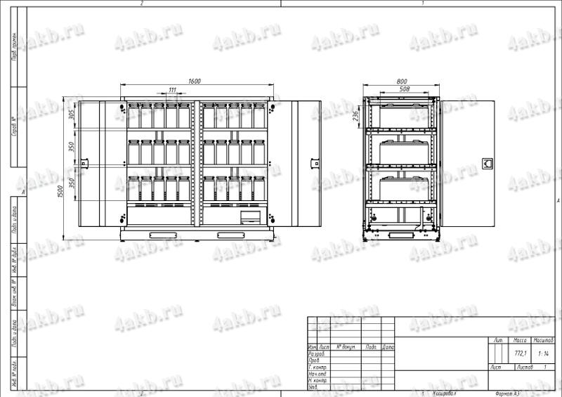 Чертеж шкафа ШМА-03К.1500 вместе с аккумуляторами