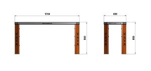 Чертеж каркаса верстака длиной 1740 мм