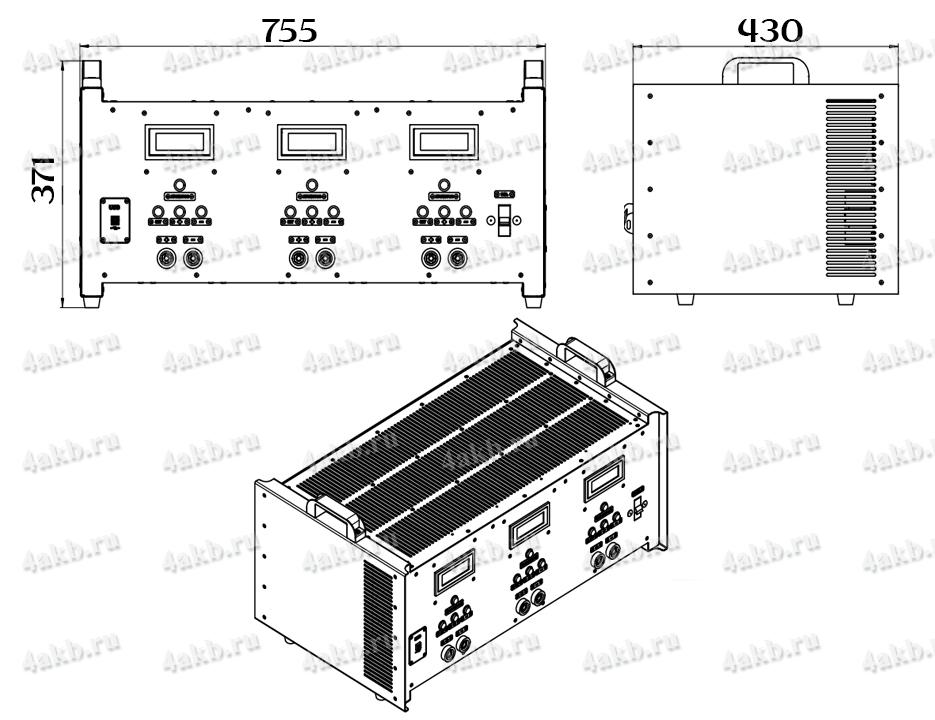 Чертеж зарядно-разрядного однофазного комплекта КЗО-3