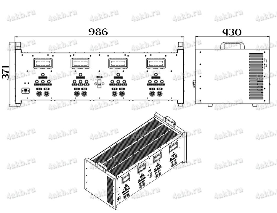 Чертеж зарядно-разрядного однофазного комплекта КЗО-4