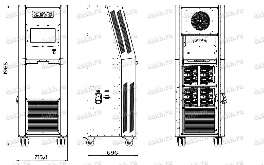 Чертеж импульсного десульфатирующего зарядного устройства серии Зевс-Авиа-М-Р