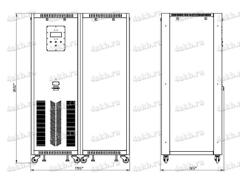 Чертеж зарядно-разрядного выпрямителя ВЗА-Р-Р (тип корпуса - 2)