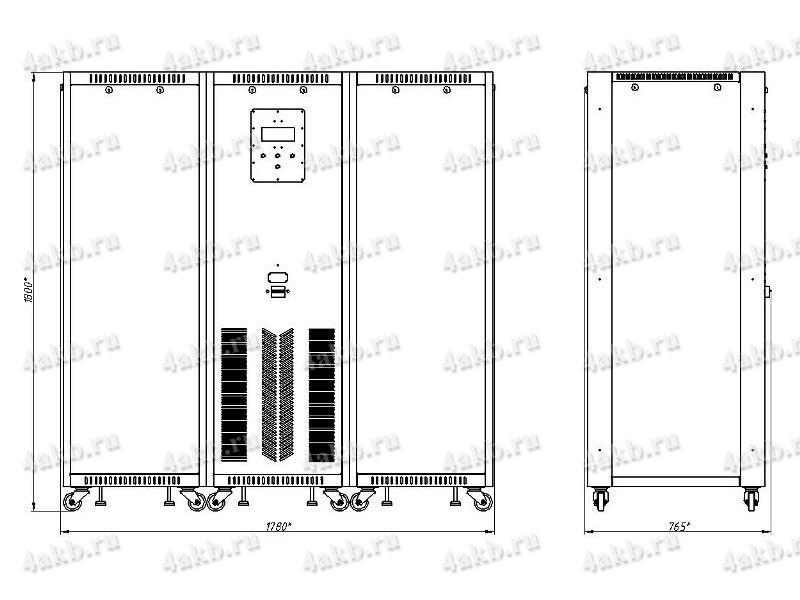 Чертеж зарядно-разрядного выпрямителя ВЗА-Р 3 (тип корпуса - 3)