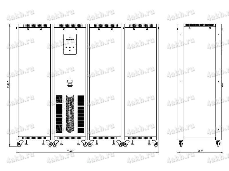 Чертеж зарядно-разрядного выпрямителя ВЗА-Р-Р (тип корпуса - 4)