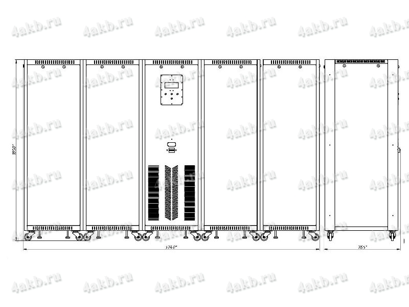 Чертеж зарядно-разрядного выпрямителя ВЗА-Р-Р (тип корпуса - 5)