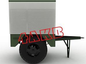 Общий вид передвижной установки для заряда АКБ на базе одноосного прицепа. Боковые и задняя стенки-роллеты открываются и фиксируются в нескольких положениях, фото 6