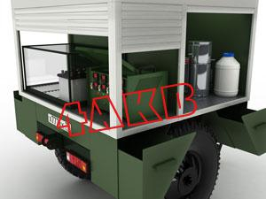 Контейнер имеет отсек с зарядным щкафом для АКБ иКЗО и отсек, в котором располагаются дистиллятор, водосборники и канистры, фото 13
