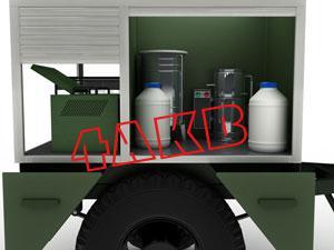 Контейнер имеет отсек с зарядным щкафом для АКБ иКЗО и отсек, в котором располагаются дистиллятор, водосборники и канистры, фото 14