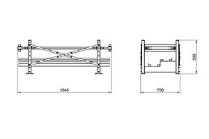 Чертеж двухрядного двухуровневого одноярусного сейсмоустойчивого аккумуляторного стеллажа