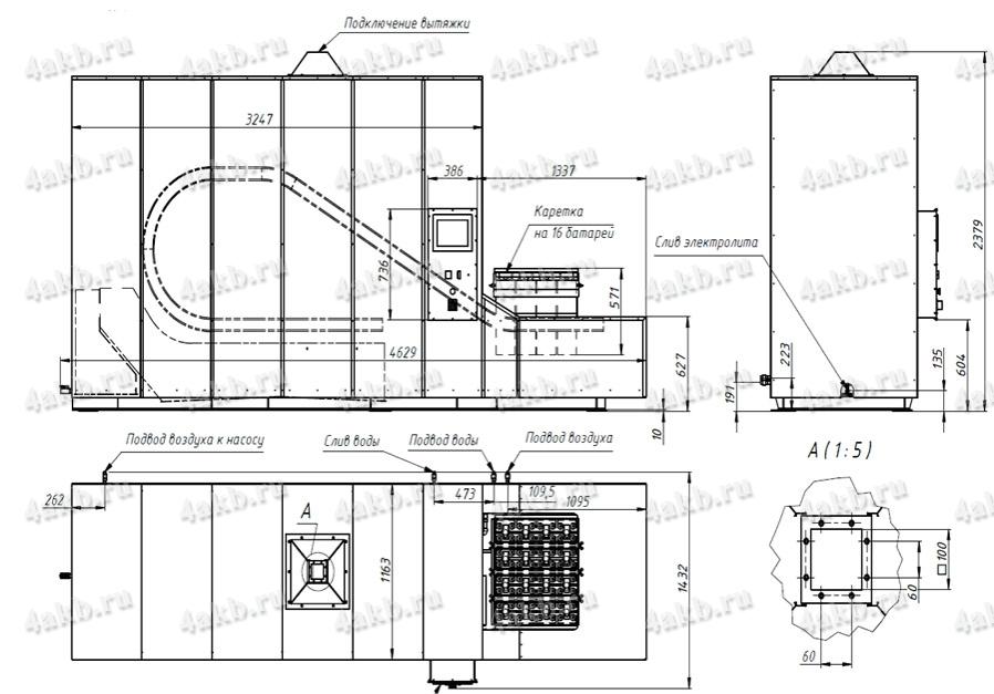 Чертеж - Установка автоматической мойки, сушки и слива электролита УМС-АБ-16