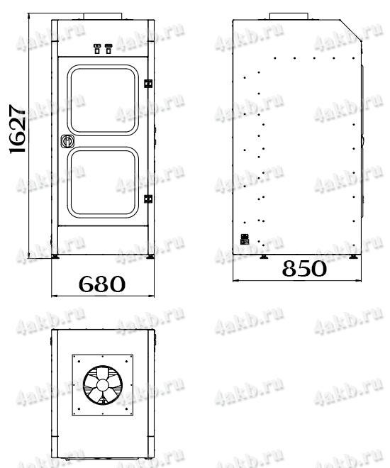 Чертеж шкафа для аккумуляторных батарей без зарядного устройства серии Светоч-02-02