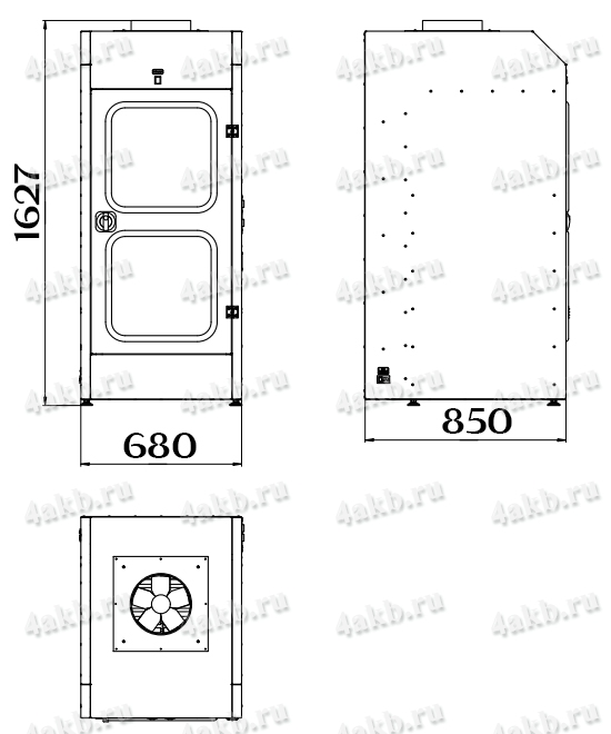 Чертеж шкафа для аккумуляторных батарей без зарядного устройства серии Светоч-02-04