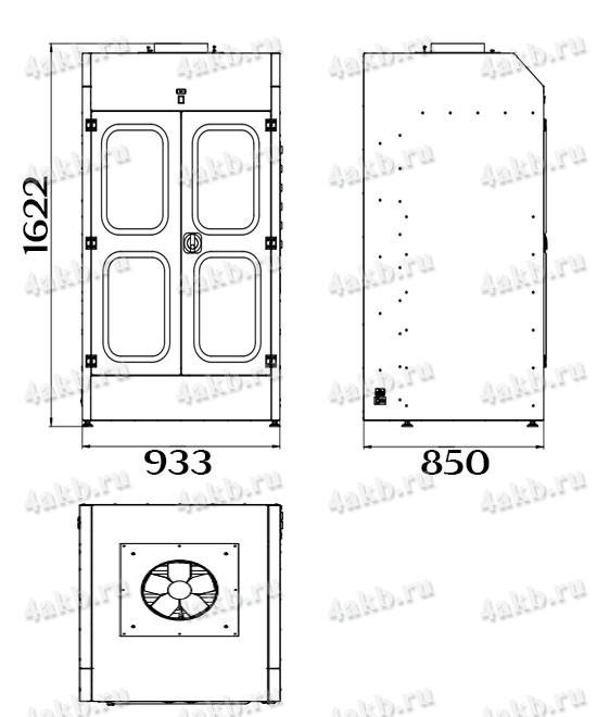 Чертеж шкафа для аккумуляторных батарей без зарядного устройства серии Светоч-02-06