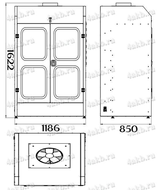Чертеж шкафа для аккумуляторных батарей без зарядного устройства серии Светоч-02-08