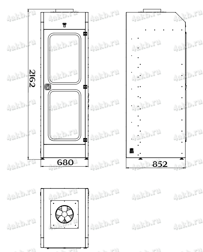 Чертеж шкафа для аккумуляторных батарей без зарядного устройства серии Светоч-03-06