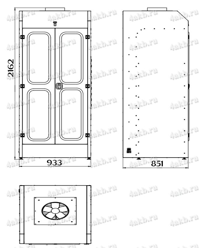 Чертеж шкафа для аккумуляторных батарей без зарядного устройства серии Светоч-03-09