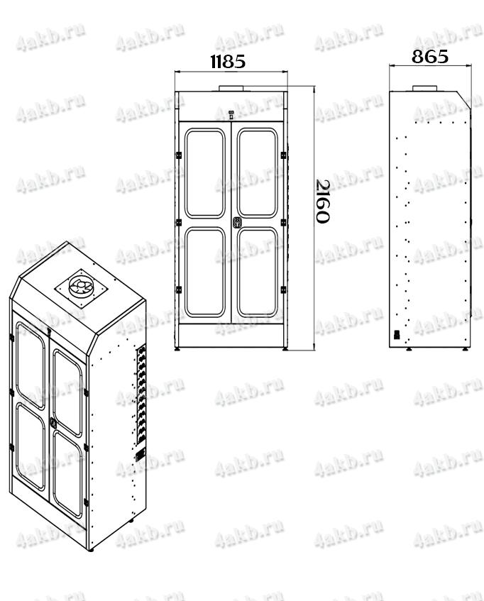 Чертеж шкафа для аккумуляторных батарей без зарядного устройства серии Светоч-03-12