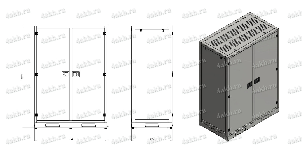 Чертеж шкафа для хранения АКБ KRONVUZ-БК-1 (рис.2)