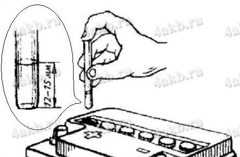 Проверка уровня электролита в аккумуляторе с помощью стеклянной трубки с делениями