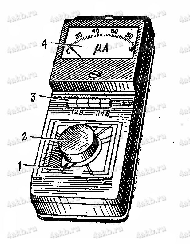 Прибор для определения степени заряженности батарей. Общий вид