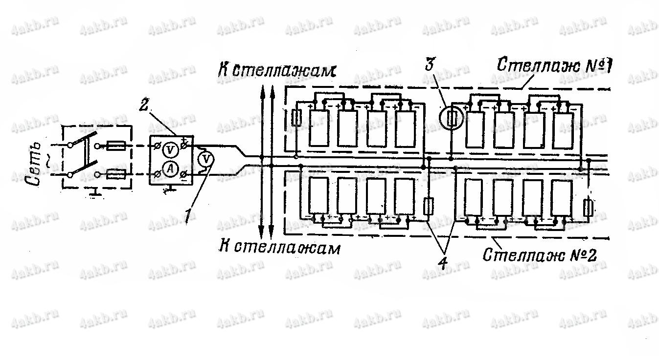 Принципиальная схема сети подзаряда 12-вольтовых батарей в хранилище