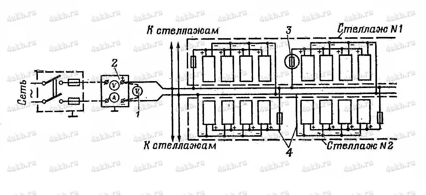 Принципиальная схема сети подзаряда 24-вольтовых батарей в хранилище