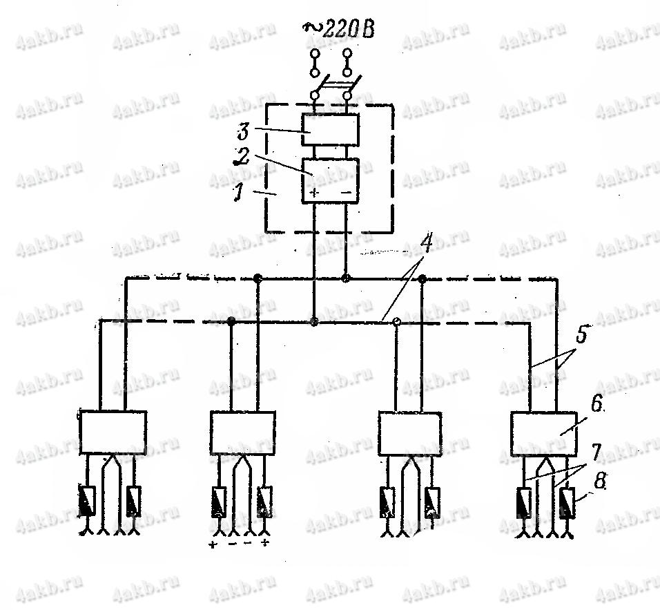 Принципиальная схема устройства УПМТ для подзаряда автомобильных аккумуляторных батарей малыми токами