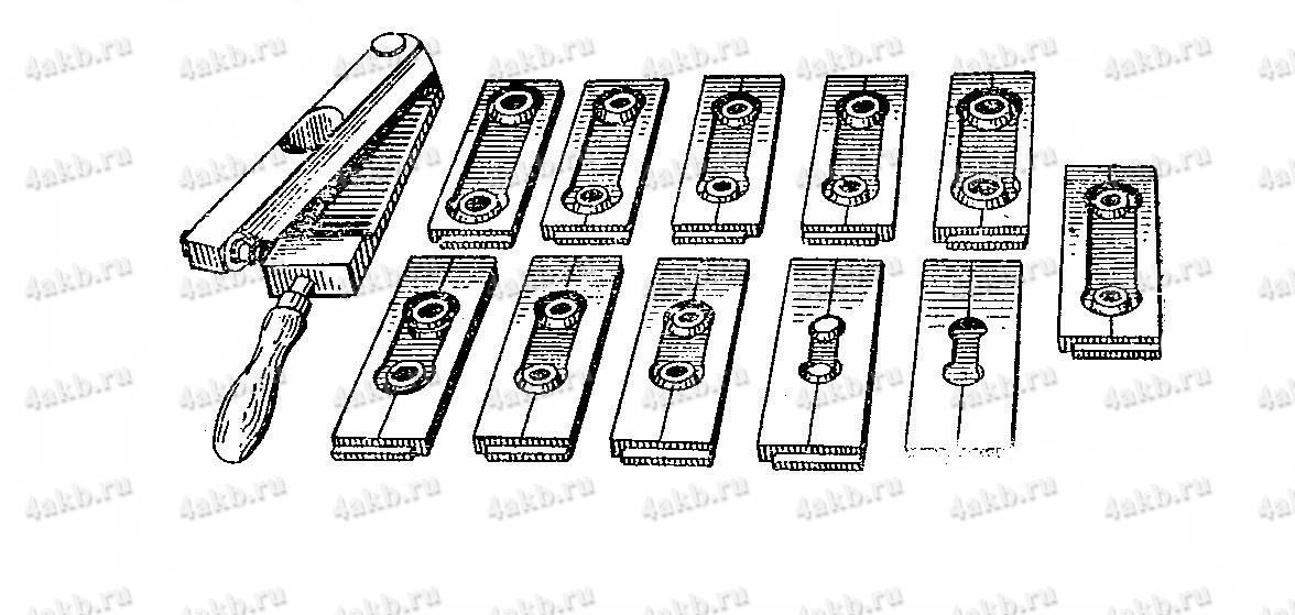 Форма с комплектом сменных вставок для отливки перемычек батарей различных типов