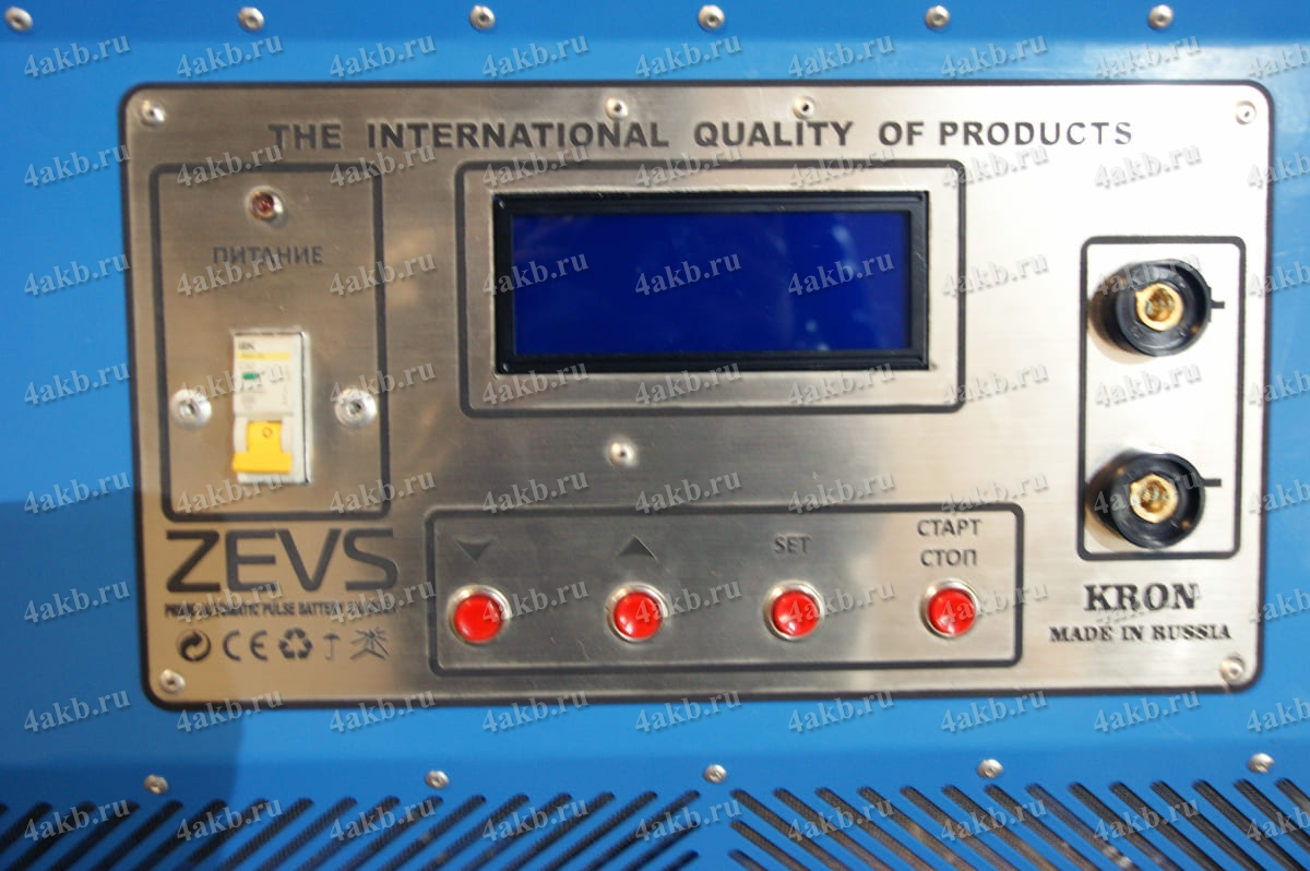 Панель управления зарядно-разрядным устройством Зевс