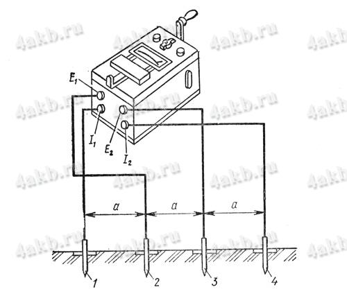 Схема включения прибора МС-07 для измеренияудельного сопротивления грунта методом четырех электродов