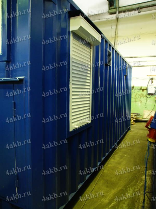 Мобильная аккумуляторная мастерская: окно с рольставнями