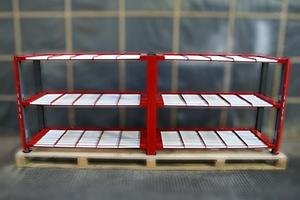 Внешний вид роликового стеллажа для размещения 30 акб