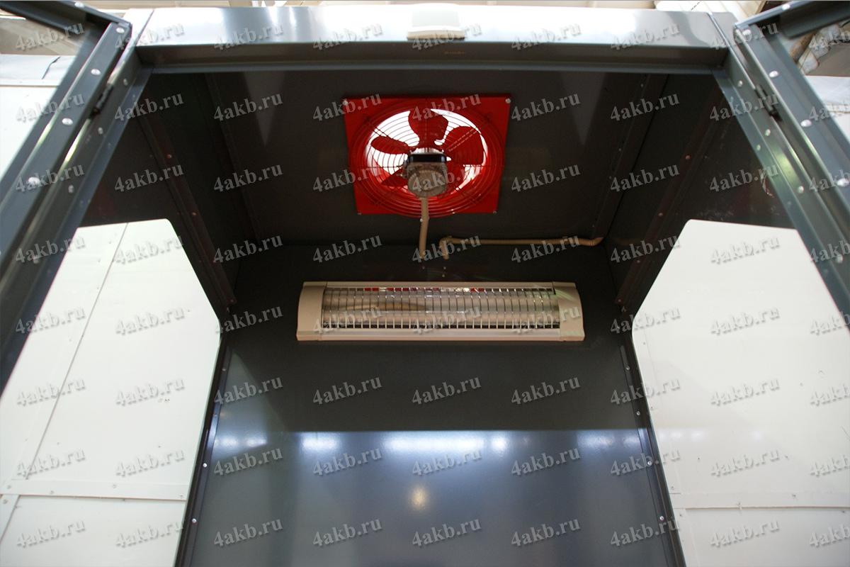 Вентилятор и лампа освещения на вытяжном шкафу УКС.ШВК-01