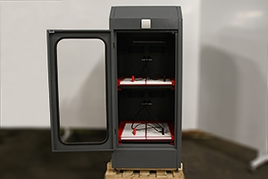 Двухъярусный шкаф для заряда аккумуляторов в открытом виде