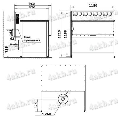 Габаритные размеры шкафа для заряда аккумуляторных батарей Светоч-04-01