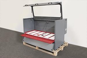 Фото выдвижного металлического поддона для сбора электролита