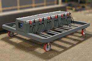 Тележка для хранения и одноврменной подзарядки 12 аккумуляторных батарей