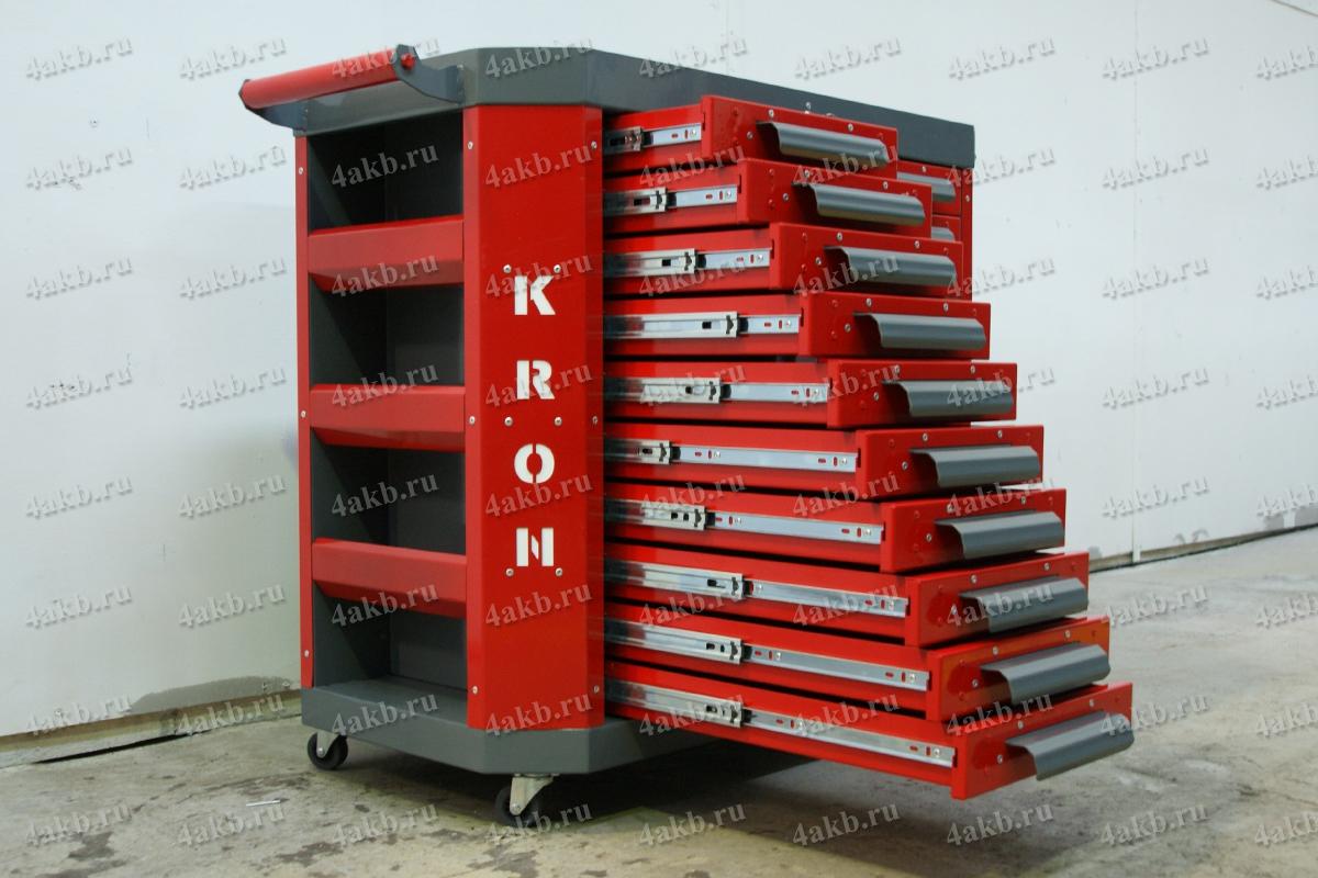 Тумба аккумуляторщика с 10 открытыми выдвижными ящиками левой секции