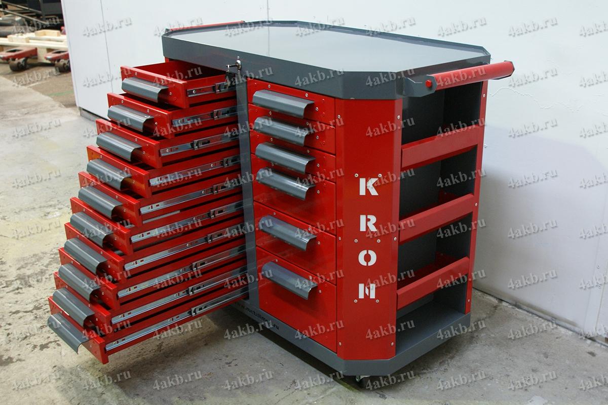 Тумба аккумуляторщика с открытыми ящиками