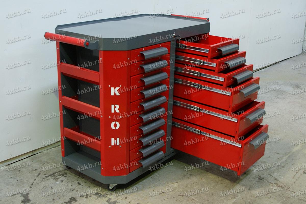 Тумба аккумуляторщика с 6 открытыми выдвижными ящиками правой секции